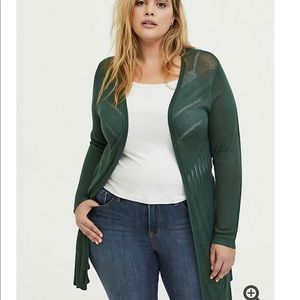 GREEN POINTELLE OPEN FRONT CARDIGAN